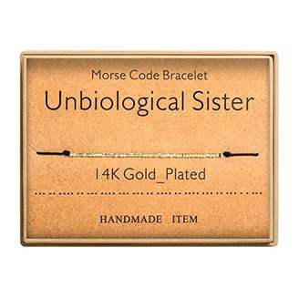 Morse Code Bracelet 14k Gold Plated Beads on Silk Cord Secret Message Unbiological Sister Bracelet Gift Jewelry for Her