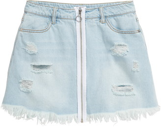 Bebe Zip Front Denim Skort