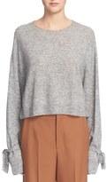 Helmut Lang Women's Tie Cuff Shrunken Crewneck Sweater