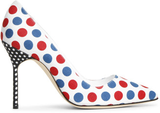 Manolo Blahnik BB 105 linnen polka dot pumps