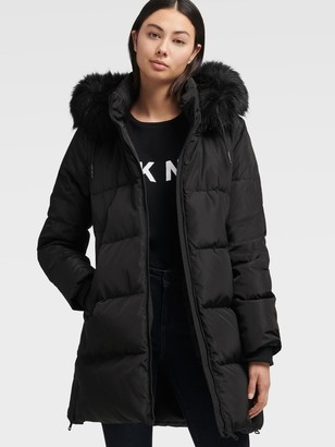DKNY Longline Puffer With Faux Fur Hood