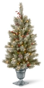 National Tree Company 4' Feel Real Snowy Bristle Berry Entrance Tree in Silver Brushed Urn with Red Berries, Mixed Cones & 100 Clear Lights