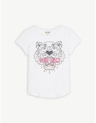 Kenzo Tiger logo cotton T-shirt 4-14 years