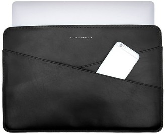 Holly & Tanager 15 Inch Leather Laptop Sleeve In Black