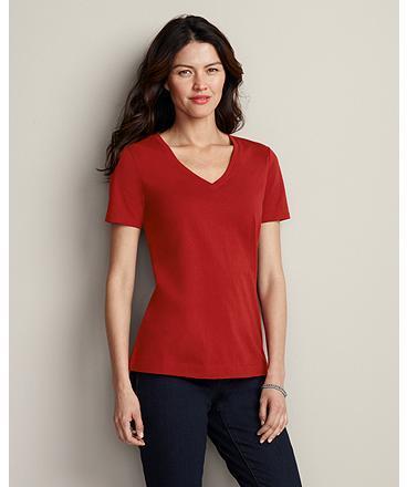 Eddie Bauer Pima Cotton Jersey Short-Sleeve V-Neck T-Shirt