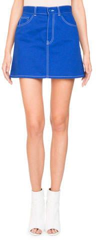 Givenchy A-Line Stretch-Denim Skirt w/ Logo Detail