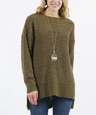 Lydiane Women's Pullover Sweaters OLIVE - Olive Crewneck Popcorn-Knit Side-Slit Sweater - Women
