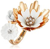 "Betsey Johnson I Dream of Betsey"" Flower Bypass Ring, Size 7"