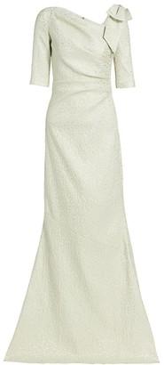 Jacquard Bow Metallic Gown