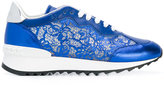 Casadei sequin lace panel sneakers - women - Calf Leather/Kid Leather/rubber - 35
