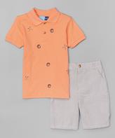 Good Lad Orange Polo & Seersucker Shorts - Boys