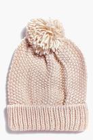 Boohoo Zoe Chunky Waffle Knit Pom Beanie Hat