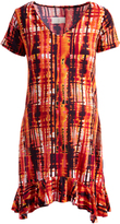 Glam Orange & Red Abstract Ruffle Accent Maternity Tunic