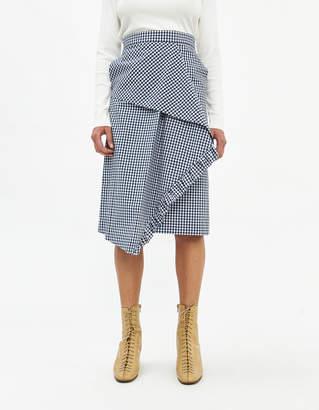 Pushbutton Cross Frill Check Skirt