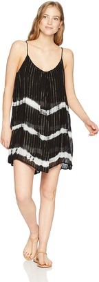 Obey Junior's DOS OJOS Sheer Coverup Dress Black/Multi XS