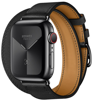 Apple Watch Herms GPS + Cellular 40mm Space Black Stainless Steel Case with Noir Swift Leather Double Tour