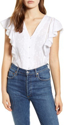 Caslon Embroidered Ruffle Top