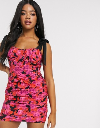 In The Style x Fashion Influx ruched mini dress with bow detail cami straps in floral print-Multi