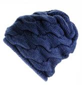 Black Navy Chunky Cable Knit Cashmere Beanie