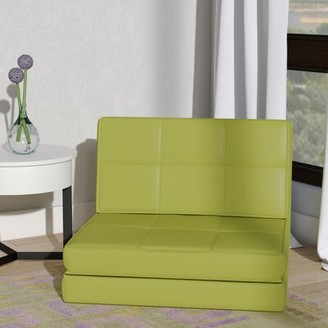 Wrought Studio Onderdonk Convertible Chair Wrought Studio Fabric: Green Faux Leather