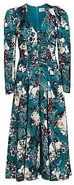 Erdem Women's Annalee Ruched Bodice Puff Shoulder Floral Midi Dress