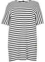 River Island Womens Plus white stripe tunic