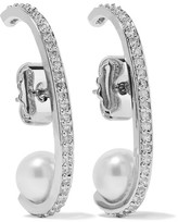 Kenneth Jay Lane Rhodium-plated, Cubic Zirconia And Faux Pearl Earrings - Silver