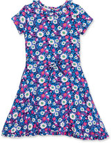Oscar de la Renta Blossom Vignette Fit-and-Flare Jersey Dress, Pink/Blue