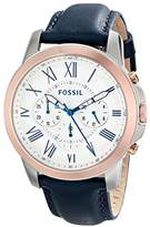 Fossil Men's FS4930 Grant Chronograph Stainless Steel Watch with Dark Blue Leather Band