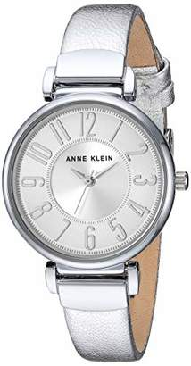 Anne Klein Women's AK/2157SVSI Easy to Read -Tone Leather Strap Watch