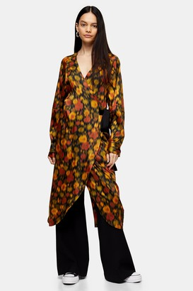 Topshop Womens **Orange Floral Wrap Dress By Orange