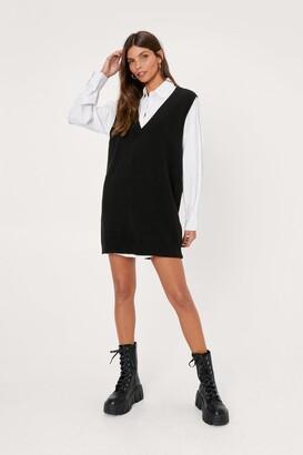Nasty Gal Womens V Back Soon Knitted Mini Dress - Black