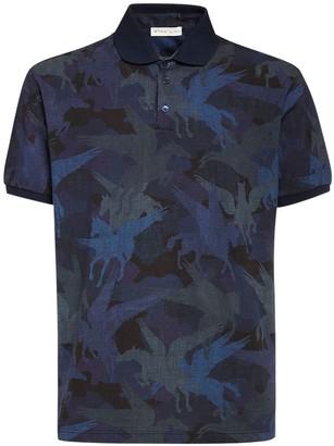 Etro Pegasus Camo Print Cotton Polo Shirt