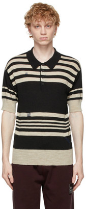 Maison Margiela Black and Beige Wool Linen Polo