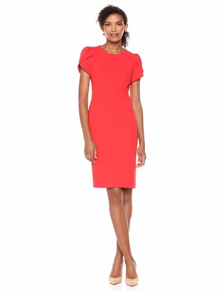 Donna Morgan Women's Tulip Sleeve Crew Neck Crepe Sheath Dress