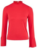 Topshop Long sleeve pie crust frill neck top
