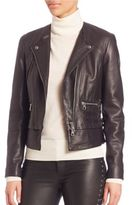 SET Asymmetric Zip Front Leather Moto Jacket