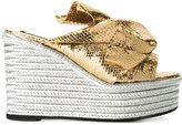 No.21 platform sandals - women - Leather/Straw/rubber - 39