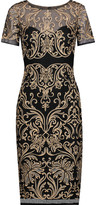 Marchesa Embroidered crochet-knit dress