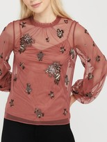 Monsoon Rosanna Embellished Top, Rose