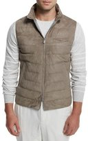 Brunello Cucinelli Suede Full-Zip Quilted Vest, Gray