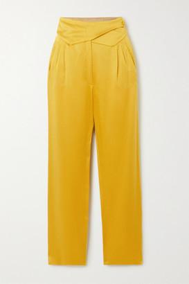 BLAZÉ MILANO Basque Wrap-effect Satin Straight-leg Pants - Mustard