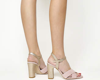 Office Hazel Two Part Sandals Pink Suede Silver Glitter