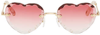 Chloé Gold and Pink Rosie Heart Sunglasses