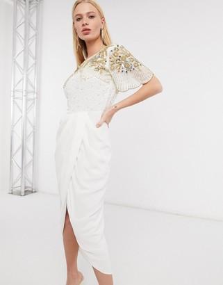 Virgos Lounge Nicola embellished midi dress with wrap skirt in ivory