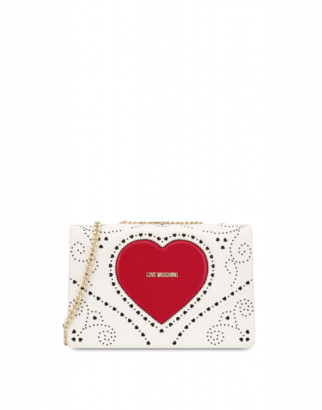 Love Moschino Shoulder Bag Heart Embroidery Woman White Size U It - (one Size Us)