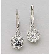Lauren Ralph Lauren Clear Crystal and Silvertone Round Pave Button Drop Earrings