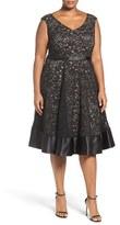 Alex Evenings Plus Size Women's Embellished Waist Lace Party Dress