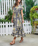 Reborn Collection Women's Maxi Dresses Yellow - Yellow & Black Geometric Ruffle-Hem Wrap Dress - Women
