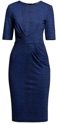 Rumour London Rebecca Soft Jersey Dress With Waistline Drapes In Blue Print